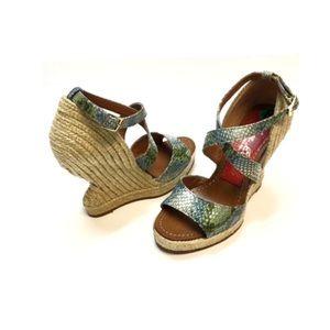 Paloma Barcelo Snakeskin Espadrille Wedge Sandals